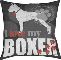 I Love My Boxer – Filled Cushion-0