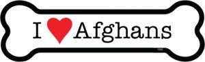 I Love Afghans - Bone Shaped Magnet-0
