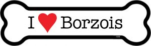 I Love Borzois - Bone Shaped Magnet-0