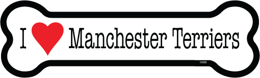 I Love Manchester Terriers  – Bone Shaped Magnet-0
