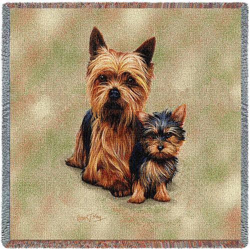 Yorkie & Pup – Square Tapestry Throw-0