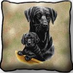 Black Labrador & Pup - Tapestry Filled Cushion-0