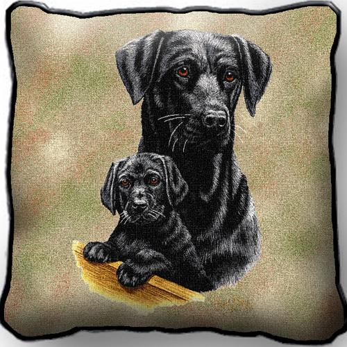 Black Labrador & Pup – Tapestry  Filled Cushion-0