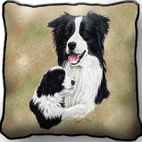 Border Collie & Pup – Tapestry Cushion Cover-0