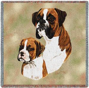 Boxer and Pup Tapestry Throw-0