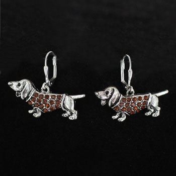 Dachshund Earrings with Topaz accent-0