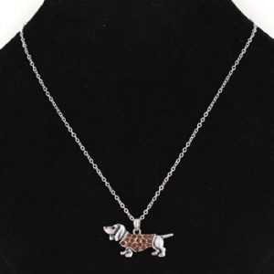 Dachshund Pendant with Topaz accent and chain-0