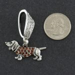 Dachshund Scarf Pendant with Topaz accent-0