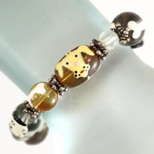 Bracelet with Dog Face glass beads-0