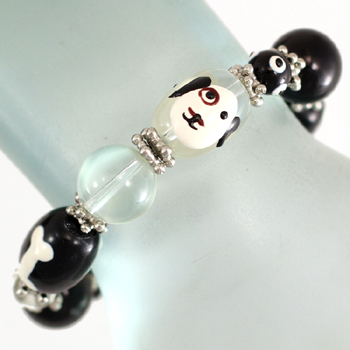 Bracelet with Dog Face and Bone glass beads-0