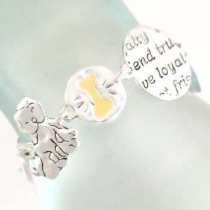 Puppy Love theme Bracelet- silver toned-0