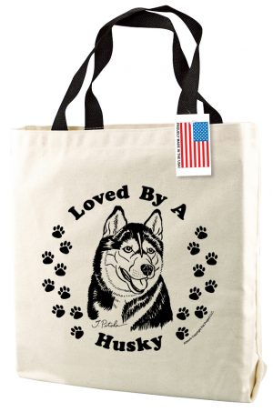 Siberian Husky Natural Tote Bag-0