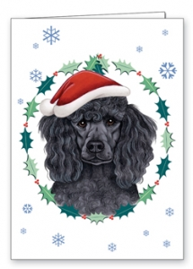 Poodle (Black) - Xmas Card-0