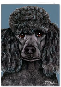 Black Poodle - Blank Card-0