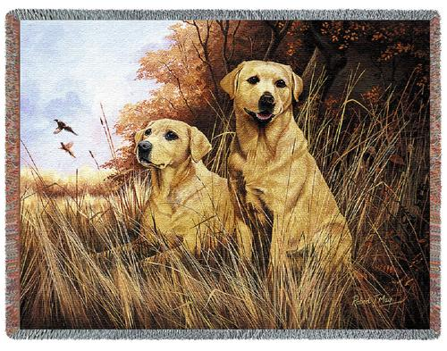 Yellow Labradors – Tapestry Throw-0