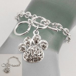 Bracelet with Clear Stone Paw Charm-0