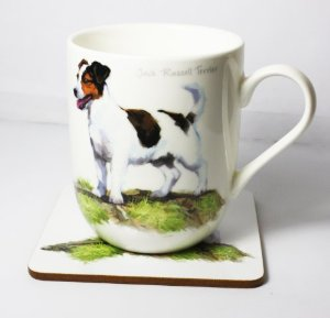 Jack Russell Fine China & Coaster Set-0