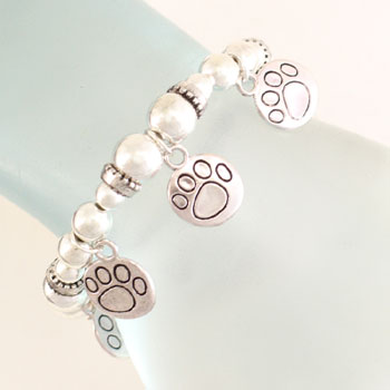 Paw printed charms Bracelet- Silver toned-0