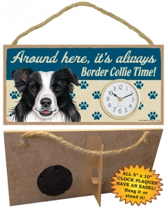 Border Collie – Wooden Clock Plaque-0