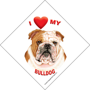 I (heart) my Bulldog Suction Sign-0