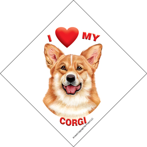 I (heart) my Corgi Suction Sign-0