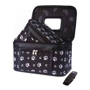 Paw Print Beauty Case - B&W Large-0