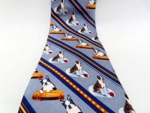 Boston Terrier Neck Tie Grey
