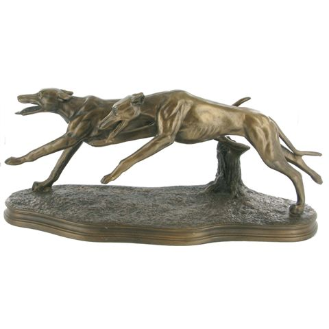 Two Greyhounds Racing – Cold Cast Bronze-3075