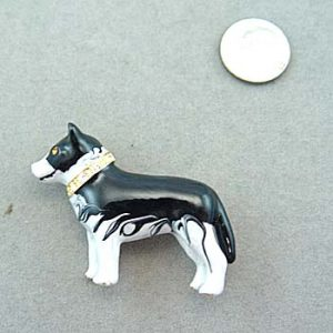 Husky Brooch / Pendant with crystal collar-0