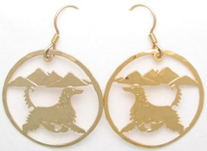Afghan Hound Gold Plated Wire Earrings-0