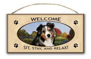 Australian Shepherd - Welcome Hanging Sign-0