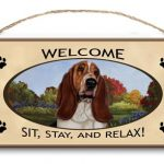 Basset Hound - Welcome Hanging Sign-0