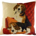 Lounging Beagles Tapestry Cushion Cover-0