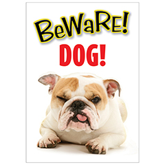 Bulldog Gate/Door Sign - Beware DOG-0