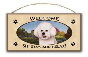 Bichon Frise Welcome Hanging Sign