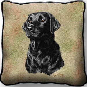 Black Labrador Tapestry Cushion Cover-0