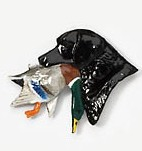 Black Labrador Head with Duck Hand Painted Pin-0