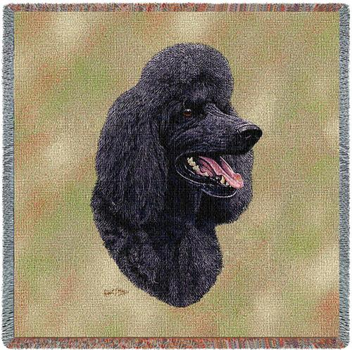 Poodle (Black) Tapestry Throw-0