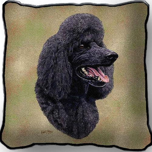 Poodle (Black) Tapestry Cushion Cover-0