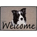 Border Collie Coir Door Mat-0