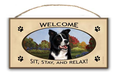 Border Collie – Welcome Hanging Sign-0