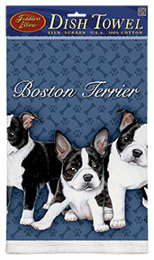 Boston Terrier Puppies - 100% Cotton Kitchen Towel-0