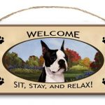 Boston Terrier – Welcome Hanging Sign-0