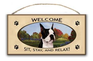 Boston Terrier - Welcome Hanging Sign-0