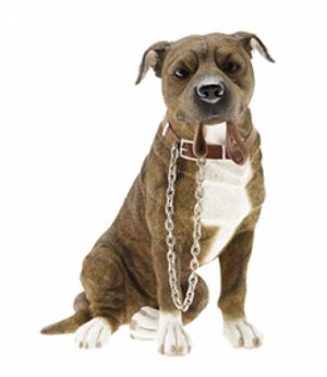 Brown Staffordshire Bull Terrier Sitting figurine-0