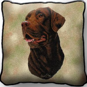 Chocolate Labrador Tapestry Cushion Cover-0