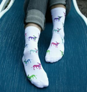 Chihuahua White Cotton Socks-0