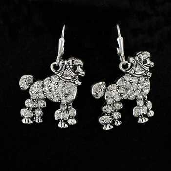 Poodle earrings with crystal accent-0