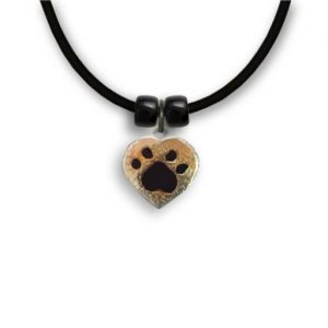 Enamel Topaz/Black Paw Necklace-0
