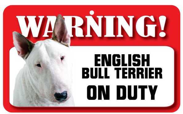 English Bull Terrier Warning Sign-0